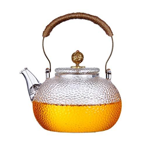 Fashion Tea Kettle Glass Teapot High Temperature 950ml (32oz) Safe with Soft Grip Anti-Hot Handle Clear Teapot for Loose Tea Teapots (Color : Brown)