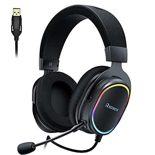Gaming Headset for PC PS4 PS5 Desktop and Laptop,RGB Lights PC Gaming Headset with Noise Canceling Mic, Over-Ear Gaming Headphones with 7.1 Surround Sound for Gaming and Daily Use (V8-Black)