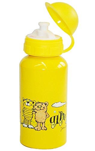 alles-meine.de GmbH Trinkflasche -  Janosch / Günter Kastenfrosch - Tigerente  - aus Aluminium - 400 ml - Fahrradflasche - gelb Kinder Flasche Alu Sport Kind / Trinklernflasche..