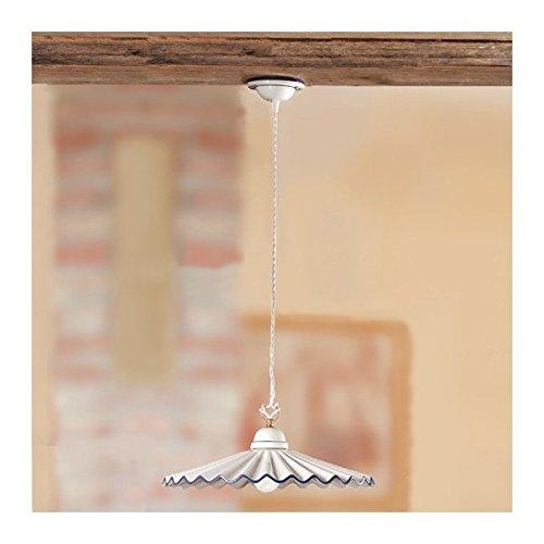 Lustre en céramique-plat-plissée-vintage style rustique, pays - Ø 43 cm - Giallo