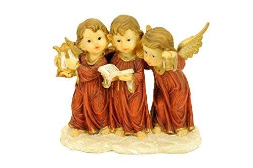 "Figura Decorativa Religiosa ""Trío Ángeles Cantores"" Figuras Resina. 14 x 7 x 13 cm."