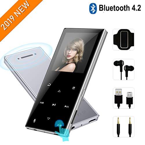 MP3-Player mit Bluetooth 4.2—2019 Neues aktualisiertes Modell,tragbarer MP3-Player,62-Stunden-Wiedergabezeit,Touch-Tasten,integrierter Lautsprecher,8GB-Unterstützung für bis zu 128 GB,Silber