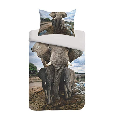 Sognamo Mumba Baumwollbettwäsche 135x200  80x80cm Farbe Multi  Elefant Elephant  Reißverschluss  Wendebettwäsche  Organic I Fair Trade I Bio