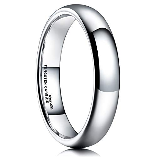 King Will Basic 4mm Classic Polished Comfort Fit Domed Tungsten Metal Ring Wedding Band 10