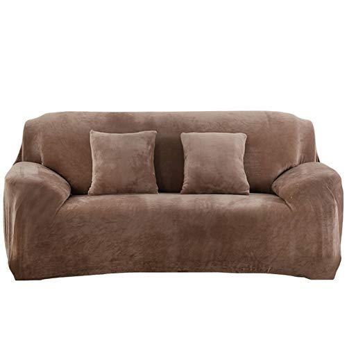 AMYZ Copridivano elasticizzato, Elastico lavorato a Maglia Tessuto Spandex in Poliestere Tinta Unita Protezione per divano per soggiorno Camera da letto-Cammello 4 posti