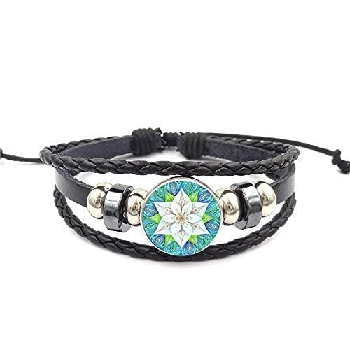 JIEZ Para las mujeres nueva marca joyería con cristal cabujón negro cuero pulsera brazalete flor de la vida deslumbrante azul caleidoscopio mandala