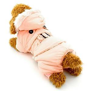 Zunea Dog Winter JumpSuit Manteau avec doublure polaire tenues de quatre pattes pour petit animal Vêtements Filles garçons