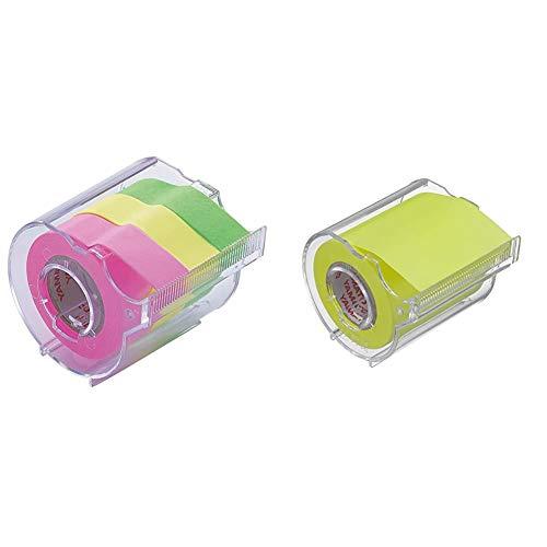 【セット買い】ヤマト 付箋 メモック ロールテープ カッター付き 15mm×10m RK-15CH-B & 付箋 メモック ロールテープ カッター付き 50mm×10m RK-50CH-LE