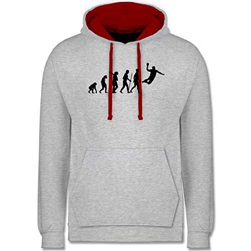 Shirtracer Evolution - Handball Evolution Herren - M - Grau meliert/Rot - Handball Pullover Herren - JH003 - Hoodie zweifarbig und Kapuzenpullover für Herren und Damen