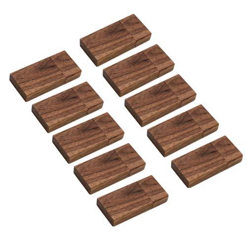 Confezione da 10 chiavette in legno USB 2.0 da 1 GB Pen Drive in legno di noce (2.0 1 GB)