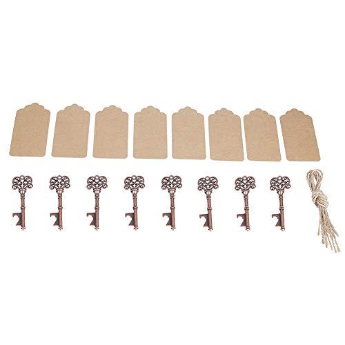12 pezzi Apribottiglie, apribottiglie in metallo a forma di chiave vintage apribottiglie facile usare portachiavi in rame massiccio con le etichette