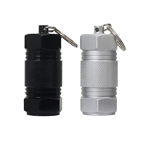 Shintop 2PCS High Capacity Aluminum Container Keychain Waterproof Pill Container