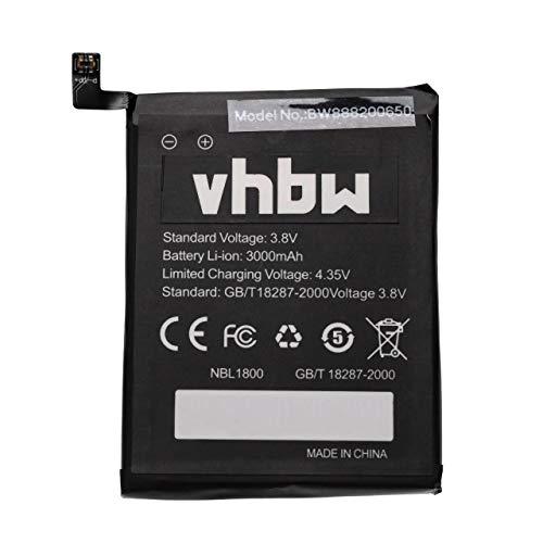 vhbw Akku kompatibel mit HomTom Zoji Z6, Z7 Handy Smartphone Handy (3000mAh, 3,8V, Li-Ion)
