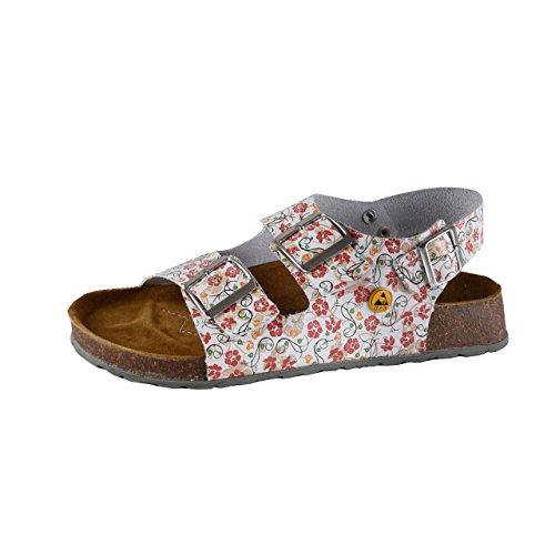 Wellness Komfort+ Damen ESD Pflege Gastro Tieffußbett Sandale mit Blumenmuster, Größe:38; Farbe: Weiß/Bedruckt