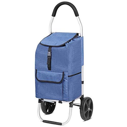 Carrito de Compras, Carro de Compra Multifuncional, Carrito Compra Plegable Push Pull, Carritos de Compras 2 Ruedas con Bolsa Oxford Desmontable, 45 l, Azul