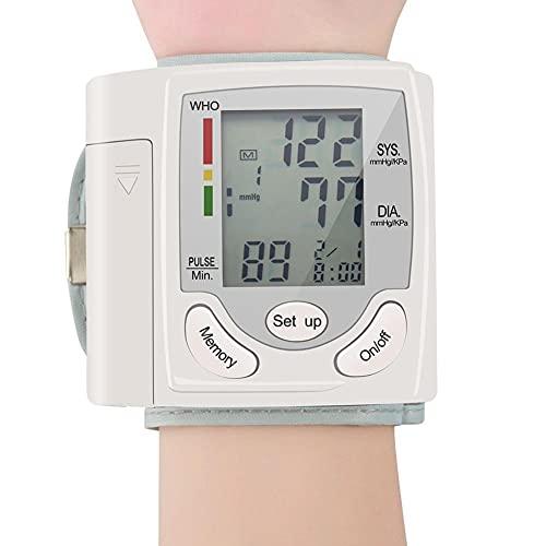 SJTL Tensiómetro de Brazo Digital,Pantalla LCD Monitor Presión Arterial,Medidor Pulso Muñeca Pulsómetro Digital automático,Esfigmomanómetro Herramienta diagnóstico Familiar No Incluye bateria