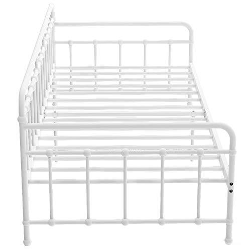 belupai Marco de cama de metal con somier Daybed de metal para cama de invitados (blanco, 90 x 200 cm)