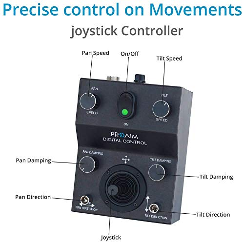 PROAIM Gold Camera Pan Tilt Head with 12V Joystick Control (PT-Gold) | Motorized Pan Tilt Head for Jib Crane Tripod DV Video DSLR