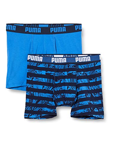 PUMA boys All-Over Print Collage Stripe Kids' Boxers (2 pack) Boxer Shorts, blue, 122-128 (2er Pack)