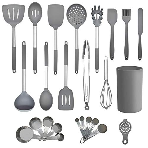 Silicone Kitchen Cooking Utensil Set,25PCS Kitchen Utensils with Holder,Heat-Resistant Non-Stick BPA-Free Stainless Steel Handle Silicone Spoons Spatula Turner Whisk Tongs Cooking Tools - Grey New Hampshire