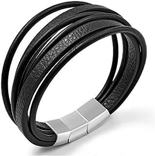 JewelOra MPE-2023 Black Genuine Cow Leather Jewelry Bracelet For Men