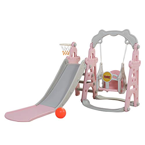 TOBBI 4 in 1 Kids Slide and Swing Set for Indoor and Outdoor, Freestanding Slide for Toddler Play Climber Slide Playset with Basketball Hoop, Pink and Grey