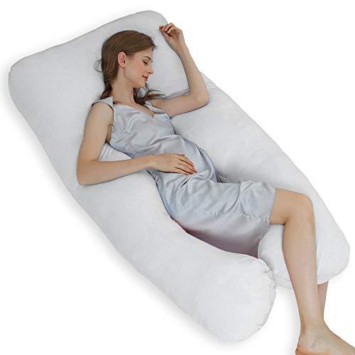 ThinLife Cuscino per gravidanza, a forma di U, cuscino premaman per tutto il corpo con rivestimento in velluto, supporto staccabile (155 pollici), colore grigio chiaro