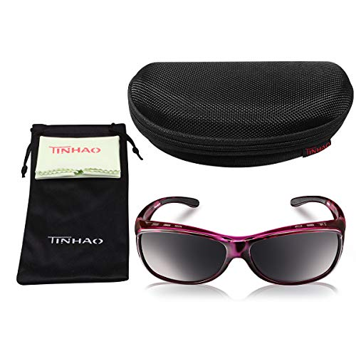 TINHAO Fit Over Sunglasses for Women - Polarized Fitover Sunglasses with 100% UV Protection for Driving,Fishing,Cycling,Running and Golf with Purple Frame