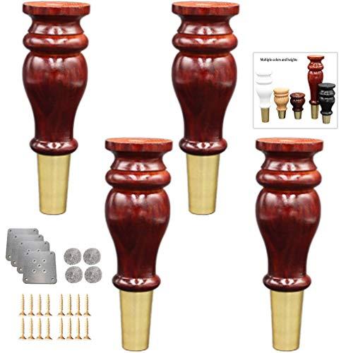 DuDu en hardware 4 Sofá forma de la calabaza, Pies sólidas patas de los muebles de madera, latón piernas del pie Cubierta de televisión escritorio de la tabla de cocina Pies gabinete piernas piernas d