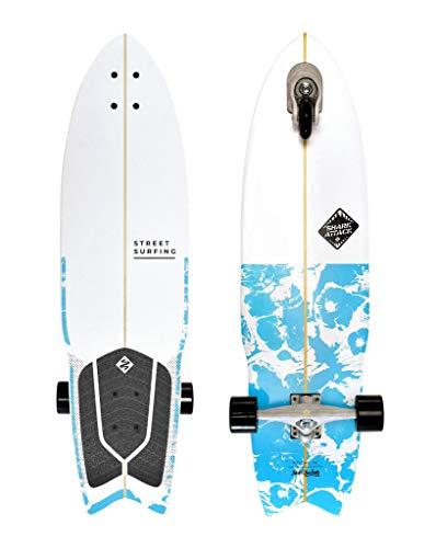 Street Surfing Surfskate Shark Attack Longboard mit Selbstfahrer, 91,4 cm x 24,4 cm, Psycho Blue Surf inspiriertes Design, langlebige ABEC 9 Rollen