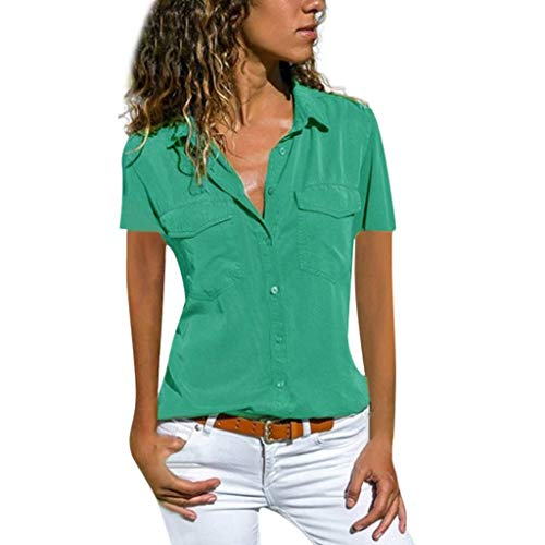 VEMOW Blusas Camisetas Mujeres Manga Corta Suelta Manga Corta Cuello Bolsillos Botones Tops(Verde,2XL)