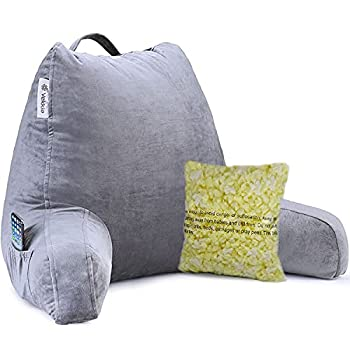 Vekkia Reading & Bed Rest Pillow with Support Arms Pockets Memory Foam Perfect Back Support Cushion for Adults Reading/Watching TV/Sitting Up in Bed – Extra Foams Incl Customize Softness-18