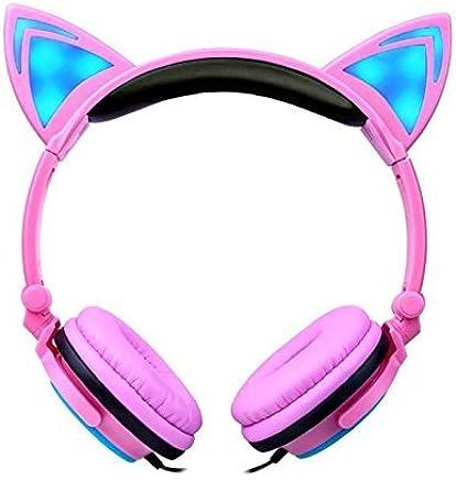 e5c9d2409dd Kids Headphones Cat Ear Headphones LED Flashing Lights (Pink)