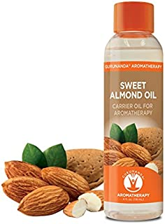 Sweet Almond Oil | Carrier Oil for Essential Oils | Massage Oil - Dilute Your Essential Oil | Youthful Radiant Skin and Hair | Cold Pressed Almond Oil | 100% Pure and Natural | GuruNanda | 4 oz