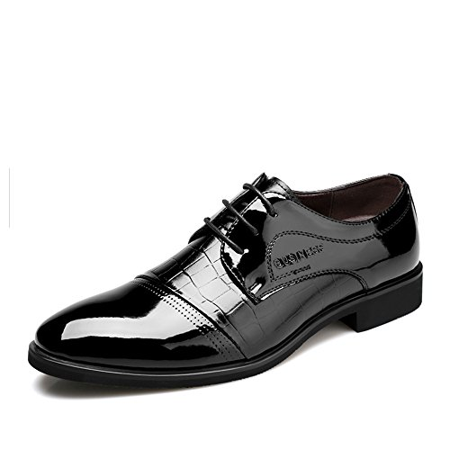 YangXieJiang Lace Up Patent Leather Oxford Dress Shoes Formal Wedding Shoes 8015 Black 9.5 D(M) US