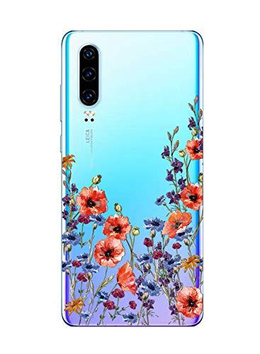 Suhctup Transparente Funda Compatible con Huawei Nova 2 Plus,Cárcasa Silicona Ultra Fina Flor Diseño Anti-Arañazos Antigolpes Bumper TPU Resistente Case Cover para Huawei Nova 2 Plus(4)