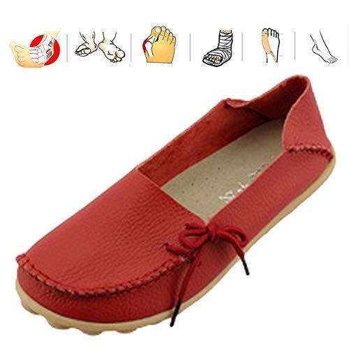 KRILY Diabetes Extra Ancha Zapatillas de Edema Artritis Edema Zapatos Ajustable Cómoda Artritis Edema Zapatos Hinchados para Ancianas Embarazadas Fascitis Plantar pies Hinchados,Bright Red,42