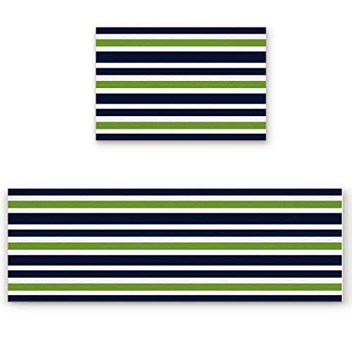 WSHINE 2 Piece Kitchen Rug Non-Slip Floor Mat Bathroom Area Rugs Doormat Runner Rug Set Kitchen Carpet, Navy Blue, Lime Green and White Stripe