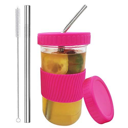Ranana Tarro para Beber Mason 650ml Tarro De Cristal para Cóctel con Pajitas Y Tapas Reutilizables (a Prueba De Fugas Y Selladas), Limpiador De Pajitas, Funda De Silicona