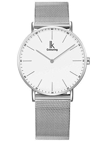 Alienwork IK Herren Damen Armbanduhr Quarz Silber mit Metall Mesh Armband Edelstahl Weiss Ultra-flach Slim-Uhr