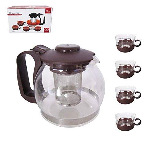 Chaleira com Infusor de Chá 1200ml em Vidro + 5 Xicaras - Ref. VDA1506