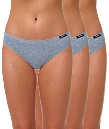 Yenita 3er Set Damen Basic Unterwäsche-Collection, Bikini-Slip, Grau, Gr. S