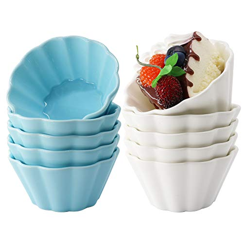 DeeCoo 6 oz Porcelain Ramekins Set, Oven Safe Sleek Porcelain White Ramikins for Pudding, Creme Brulee, Custard Cups and Souffle, Bakeware for Baking and Cooking, 10 Pack Flower Shape Ramekins Bowls