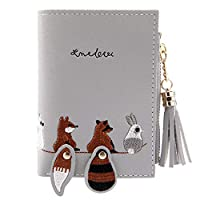 ACHICOO 財布 タッセル ジッパー付き カードホルダー 短い 刺繍 動物パターン 女性 灰色