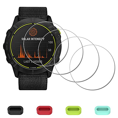 [4 Pack] Screen Protector for Garmin Enduro Ultraperformance Multisport GPS Smartwatch + Silicone Anti-dust Plugs, iDaPro Tempered Glass Anti-Scratch Bubble-Free Easy Installation