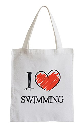 I Love Swimming Fun Jutebeutel