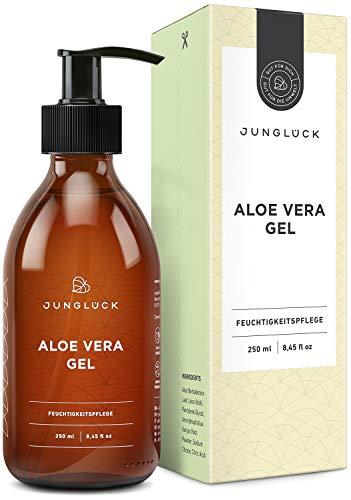 BIO Aloe Vera Gel vegan I ÖKO-TEST Sehr gut I 250 ml Feuchtigkeitspflege für Gesicht, Körper & Haare I Junglück Aloe Vera Gel | Made in Germany