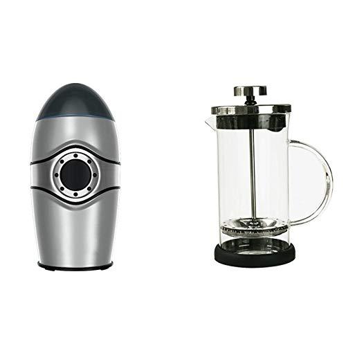 QYT-Molinillo de Café Eléctrico 150W Granos de Café y Molinillo de Especias Eléctricos de Acero Inoxidable, Bajo Ruido, Molino para Granos de Café Nueces Especias Cereales,Plata