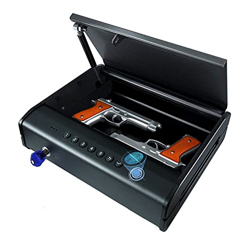 PINEWORLD Biometric Gun Safe for Pistols, Quick Access Handgun Safe with Fingerprint Firearm Pistol Safe Box with Remote Unlock, Dual Pistols Small Lock Box for Bedside, Car and Nightstand