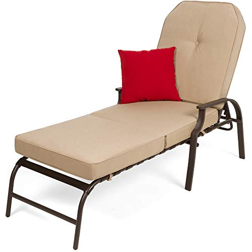 Best Choice Products Adjustable Outdoor Steel Patio Chaise Lounge Chair Furniture for Patio, Poolside w/ 5 Positions, UV-Resistant Cushions - Brown/Beige